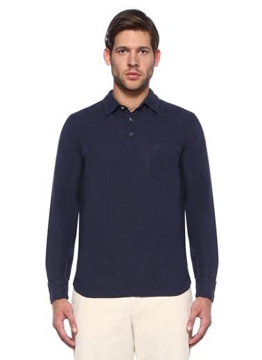 Barena %100 Keten Polo Yaka Sweatshirt Mavi